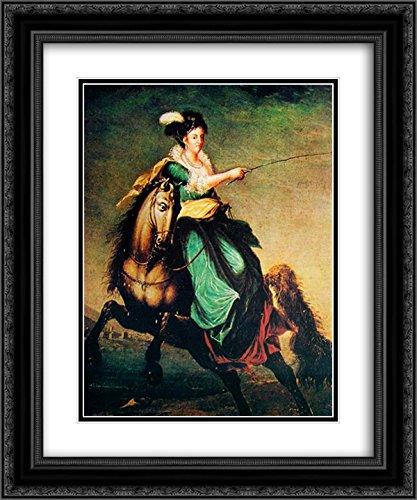 Domingos Sequeira 2X Matted 20x24 Black Ornate Framed Art Print 'Retrato equestre de Carlota Joaquina of Spain'