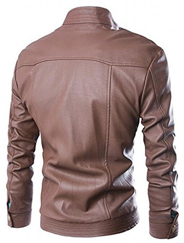 LeNG Men's Vintage Stand Collar Zip Up Motorcycle Jackets Fashion BrownUS Large-(China 2X-Large)
