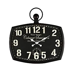 Adeco Cabernet Sauvignon Black Iron Old World-Inspired Pocket Watch Style Wall Hanging Clock