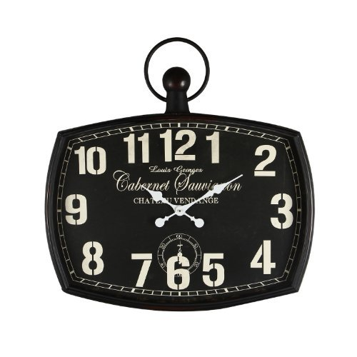 Adeco CK0006 Cabernet Sauvignon Black Iron Old World-Inspired Pocket Watch Style Wall Hanging Clock, Black