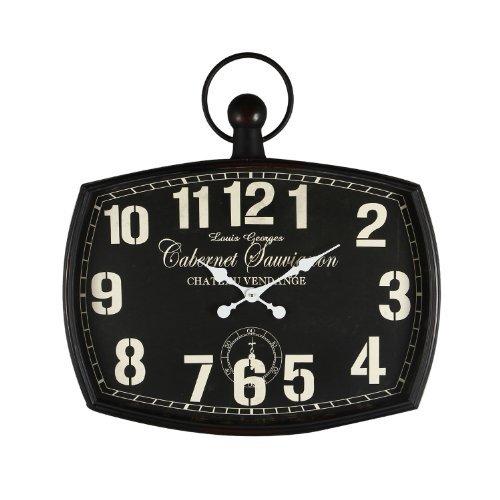 Cheap Adeco CK0006 Cabernet Sauvignon Black Iron Old World-Inspired Pocket Watch Style Wall Hanging Clock, Black