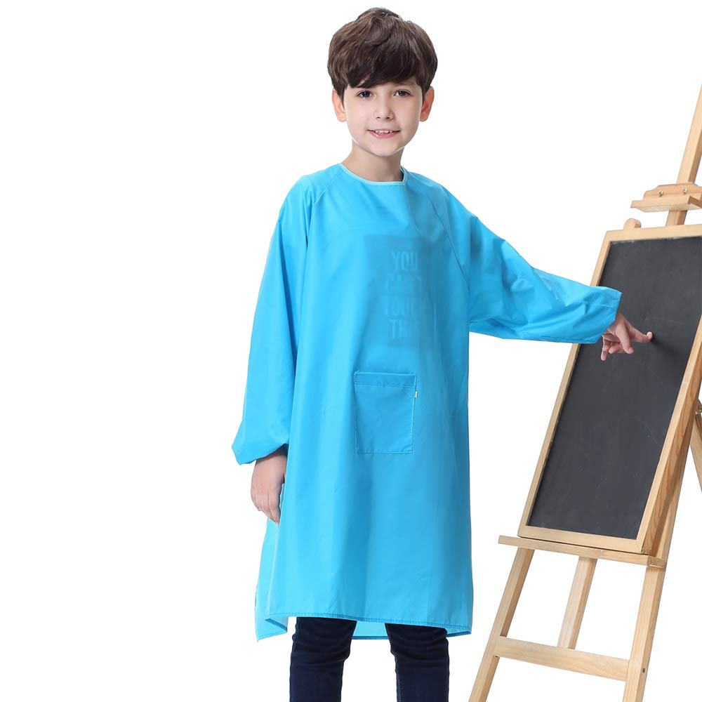 Long Sleeves Kids Art Smock Waterproof Long Section Painting Apron with Pocket for Toddler Preschool Children (XXXL, Green)