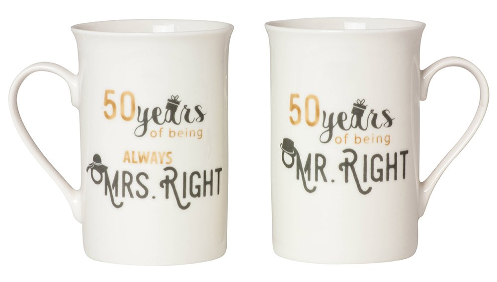 Designer 50th Anniversary Mr Right & Mrs Always Right Mug Gift Set by Haysoms