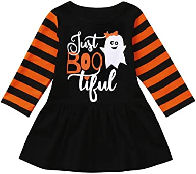 Little Girls 2 Pieces Set Halloween Ghost Outfit Long Sleeve Top Pants Clothing