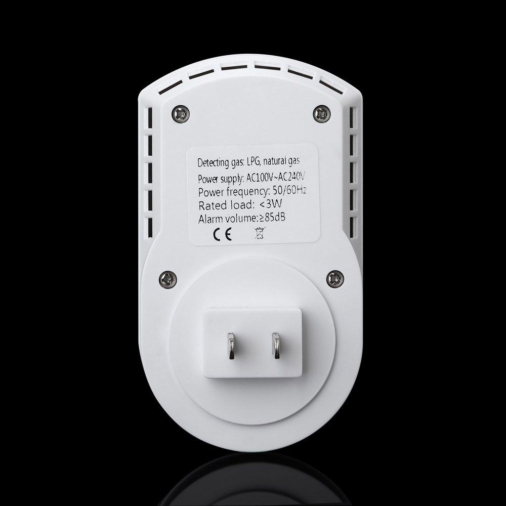 SODIAL Sensitive digital display flammable pipe alarm gas detector gas detector kitchen monitoring sensor US Plug by SODIAL (Image #6)