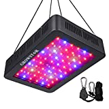 Cheap 600W LED Grow Light, Growstar Double Chips LED Grow Lamp Full Spectrum for Hydroponic Indoor Plants Flower and Veg with UV IR Daisy Chain (12-Band)