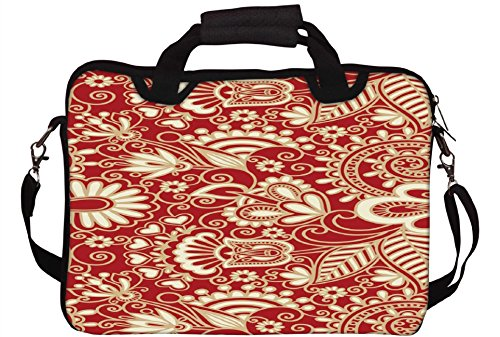 Snoogg Floral Red And White Printed Notebook-Tasche mit Schultergurt 13 bis 13,6 Zoll