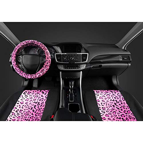ComfySeats Velvet Animal Car Seat Covers Two Tone Pink Leopard on Black ()