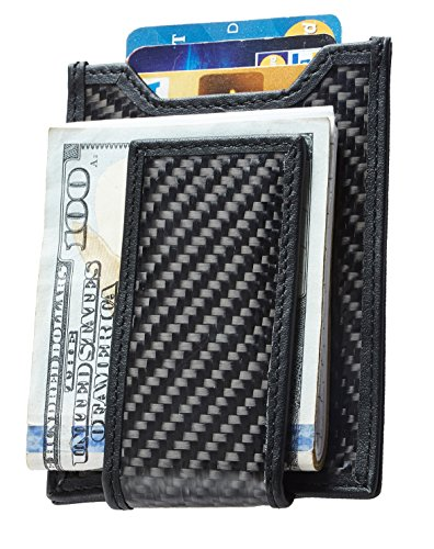 NapaWalli Slim Carbon Fiber Money Clip Wallet RFID Blocking Card Holder (CF black)