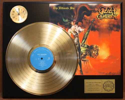 Ozzy Osbourne The Ultimate Sin LTD Edition 24Kt Gold LP Record & Clock Display Quality Collectible from Gold Record Outlet