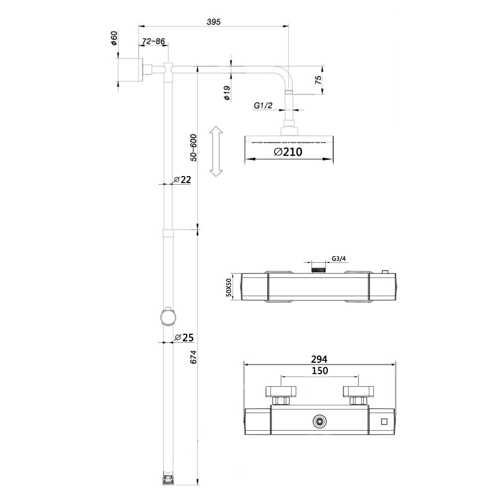 Hausbath Chrome Thermostatic Shower Mixer Modern Thermostatic Bar Shower Mixer Valve Anti Scald Tap /…