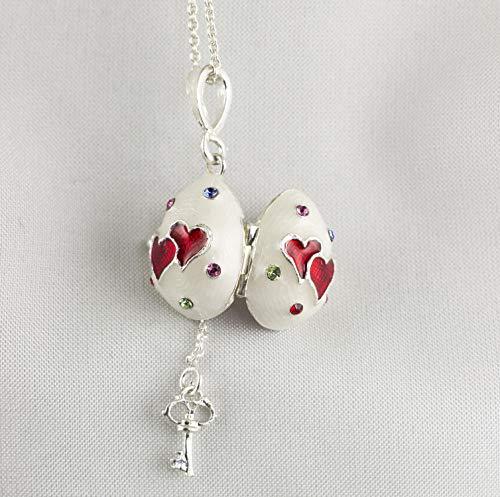 Heart Love Locket Key Inside Sterling Silver Enameled Pendant For Women