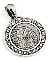 Deep Engraved 999 Sterling Silver Indian Chief Skull Stars Round Mens Biker Pendant 9X016 JP