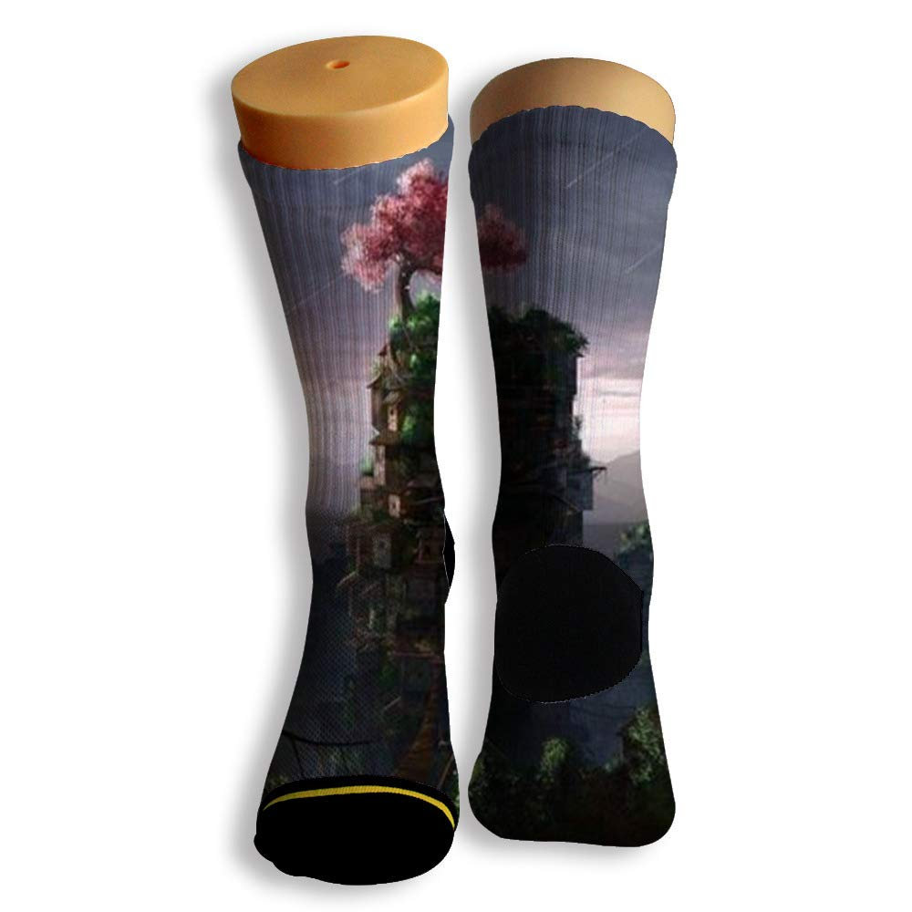 Basketball Soccer Baseball Socks by Potooy Tree Town 3D Print Cushion Athletic Crew Socks for Men Women