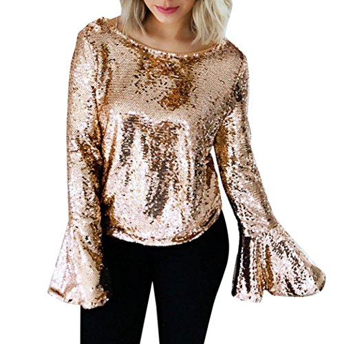 Wintialy Women Bling Sequins Sexy Backless Blouse Casual Loose Fit Long Sleeve Street Tops Shirts (Gold, (Sequin Peasant Top)