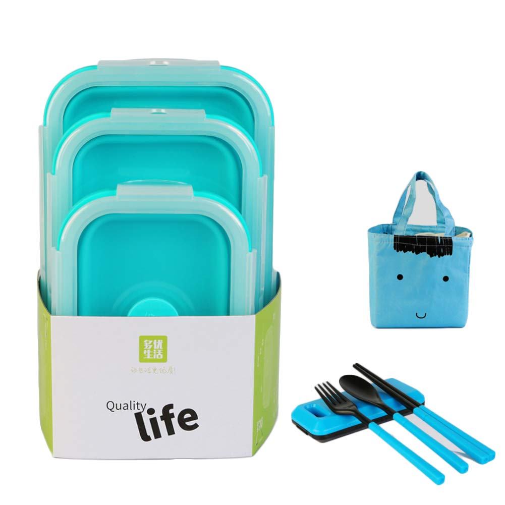 KnvcDey Silicone Collapsible Bowl,Camping Hiking Portable Travel Food Storage containers Lunch bento Box bpa Free Space-Saving-Blue A 3 Pack by KnvcDey