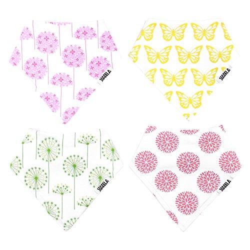 "Stadela Baby Bandana Bib Set, 4-Pack Absorbent Soft Cotton Drool and Teething Bandana Bibs, Baby Shower Gift for Girls ""Meadow"""
