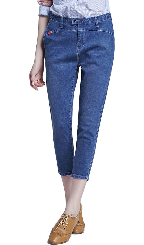 Ubasics Women's Summer Loose Regular Fit Elastic Denim Capri Hallen Pants
