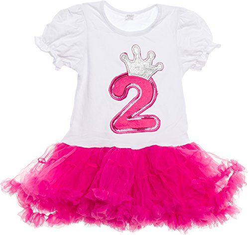 Silver Lilly Baby Girls Birthday Outfit - Cute 2-Piece Tutu Dress for Toddlers (Hot Pink, 2 Year Old)]()