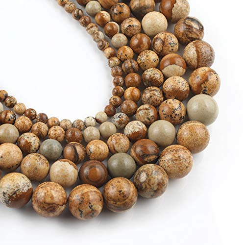 Yochus 10mm Picture Jaspers Round Loose Beads Natural Stone Beads for Jewelry Making