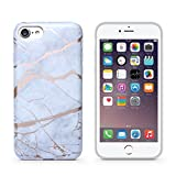 iPhone 7 case,iphone 8 case,CAOUME White Rose Gold Marble Case Protective TPU Soft Rubber Silicone Cover Phone Case for Apple iPhone 7 (2016) / iPhone 8 (2017)