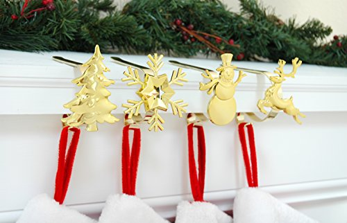 UPC 667233020078, The Original MantleClip Stocking Holder with Removable Holiday Icons, Gold 4-pack (Assorted Icons)