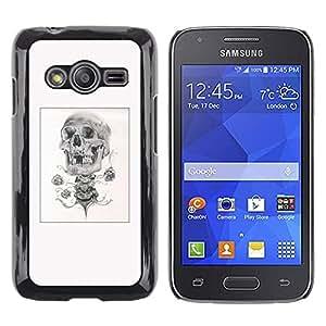 MobileHut / Samsung Galaxy Ace 4 G313 SM-G313F / Skull Rose Biker Poster Black White / Delgado Negro Plástico caso cubierta Shell Armor Funda Case Cover