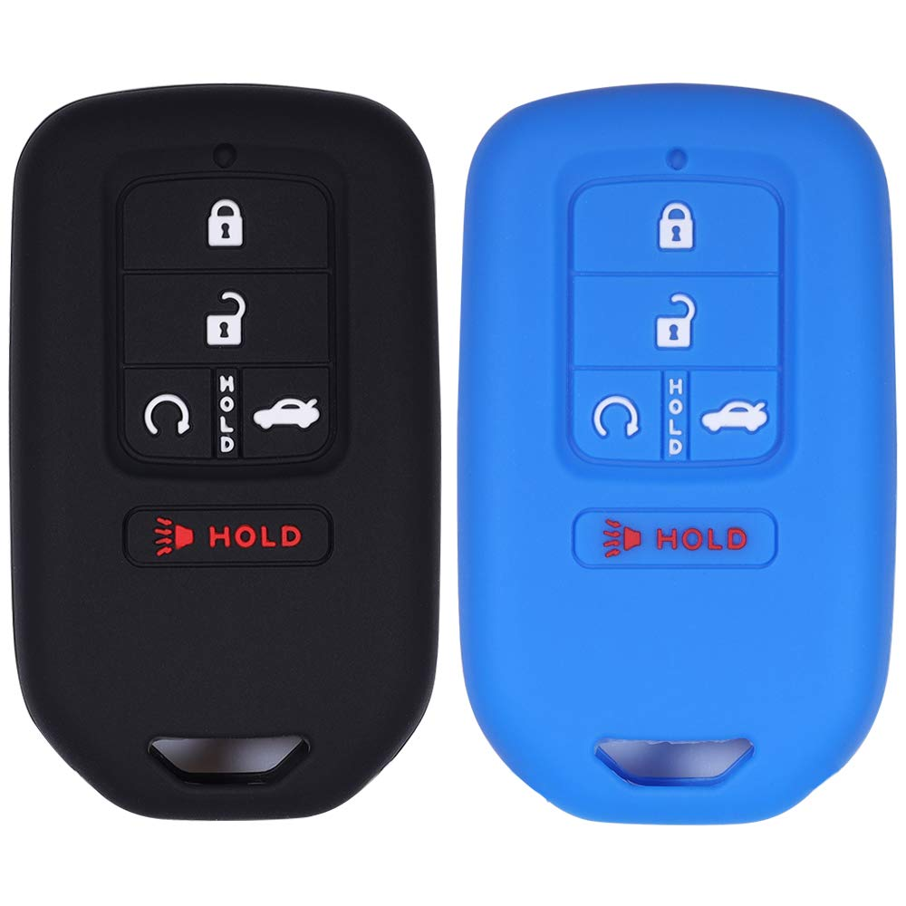 2 Pack Soft Rubber Silicone Full Protective Key Fob Remote Cover Case Shell Bag Holder Skin Jacket for Honda Civic Accord Pilot CR-V Pilot EX EX-L 2019 2018 2017 2016 2015 A2C81642600 Black+Red