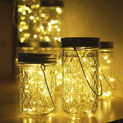 Miaro 6 Pack Mason Jar Lights, 10 LED Solar Warm White Fairy String Lights Lids Insert for Garden Deck Patio Party Wedding Christmas Decorative Lighting Fit for Regular Mouth Jars with Hangers by Miaro (Image #5)'