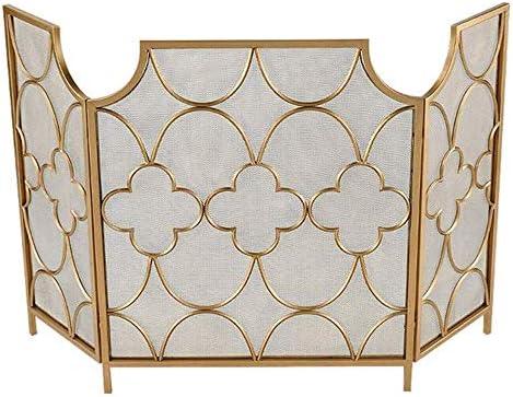 LJFPB 暖炉スクリーン 特大3パネル 防火スクリーン装飾プロテクター、 折り畳み式の錬鉄 スパークガードフェンス 暖炉/ストーブ/グリル用、 ゴールド 背の高い30インチ (Color : Gold)