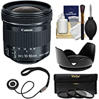 Canon EF-S 10-18mm f/4.5-5.6 IS STM Zoom Lens with Hood + 3 UV/CPL/ND8 Filters + Kit for EOS 70D, 7D, Rebel T5, T5i, T6i, T6s, SL1 DSLR Camera