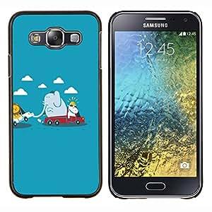 Caucho caso de Shell duro de la cubierta de accesorios de protección BY RAYDREAMMM - Samsung Galaxy E5 E500 - Funny Animals lindas