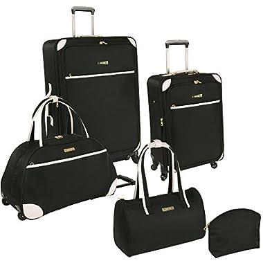 Ninewest Luggage Round Trip 5 Piece Luggage Set, Black/White, One Size