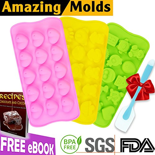 Silicone Chocolate Candy Molds (Bonus eBOOK + 50 Small Bags + Spatula) Jelly Gummy Pudding Ice Cake Soap Ganache Baking Mold | Non stick BPA free Professional Decorating | Set of 3 Many Cute Shapes (Dry Ice Recipes Halloween)