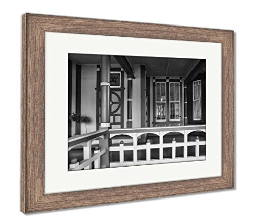 Ashley Framed Prints The Winchester Mystery House, Wall Art Home Decoration, Black/White, 30x35 (Frame Size), Rustic Barn Wood Frame, AG6535234