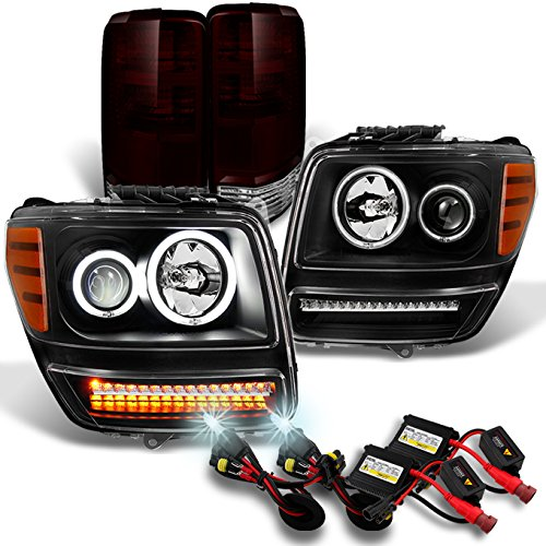 2007-2011 Nitro Dual CCFL Halo Black Projector LED Signal Headlights + Dark Red Tail Lights + 6K HID