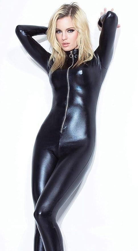 Women/'s Long Sleeve Catsuit Peau De Serpent Imprimé Body Ange Combinaison avec Fermeture Éclair