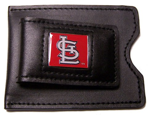 MLB St. Louis Cardinals Leather Money Clip and Card (Louis Cardinals Money Clip)