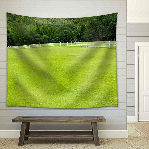Country Horse with Fence and Green Grass Fabric Wall