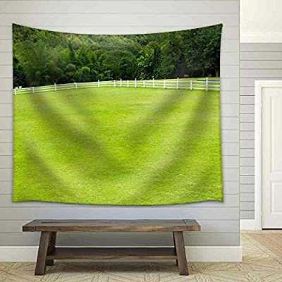 Made With Love, Grand Visual, Country Horse with Fence and Green Grass Fabric Wall