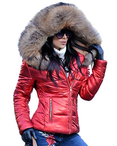 - Aofur Womens Ladies Quilted Winter Coat Fur Collar Hooded Down Jacket Parka Outerwear (Small, Red Brown Fur)