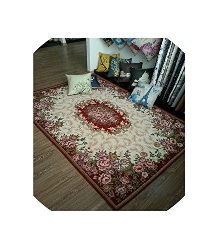 (Anti-Skid Jacquard Carpet for Living Room/Dining Bedroom Mat Floral Modern Pattern Absorbent Non-Slip Modern Carpet Mug,Red,40Cmx60Cm)