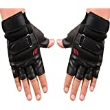 Wenjuan Men Gym Exercise Training Sport Fitness Sports Half Finger Leather Gloves