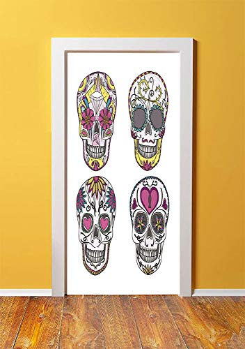 (Sugar Skull Decor 3D Door Sticker Wall Decals Mural Wallpaper,Mexican Style Traditional Sugar Skulls Set Hearts Ornate Floral Motifs Decorative,DIY Art Home Decor Poster Decoration 30.3x78.12262,Multi )