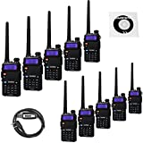 10 Pack BaoFeng UV-5RTP Tri-Power 8/4/1W Two Way Radio (Upgraded Version of UV-5R ), Dual Band 136-174/400-520MHz True 8W High Power +1 Programming Cable