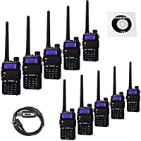 BaoFeng 10 Pack UV-5RTP Tri-Power 8/4/1W Two-Way Radio Transceiver (UV-5R Upgraded Version with Tri-Power), Dual Band 136-174/400-520MHz True 8W High Power Two-Way Radio + 1 Programming Cable