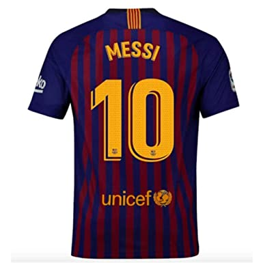 70a6267ae Amazon.com  Barcelona Home 2018-2019 Men s  10 Messi Jersey Red Blue ...