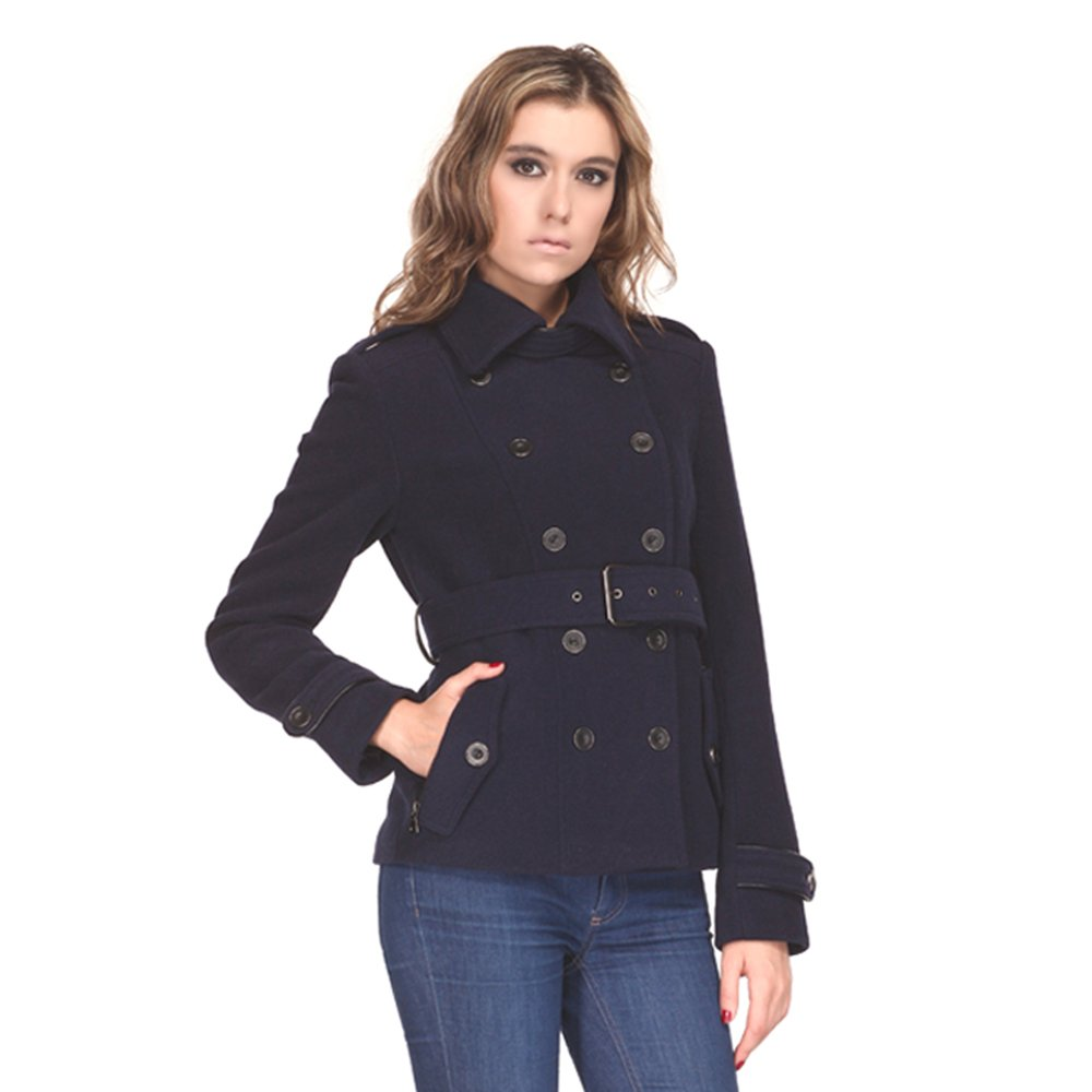Zareen by BC24 Women's Wool Short Coat with Belt Small Navy by Zareen by BC24