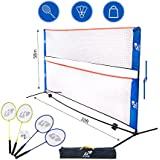 Kale Badminton Set for Adults and Kids with 10-Feet Net Stand/Frame, 4 Badminton Rackets and 3 Balls