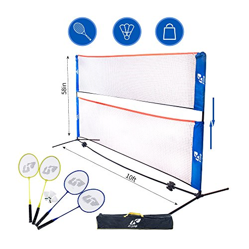 Kale Badminton Set for Adults and Kids with 10-Feet Net Stand/Frame, 4 Badminton Rackets and 3 Balls (Best Portable Badminton Set)